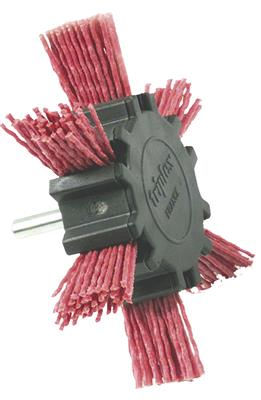 BROSSE EVENTAIL NYLON ROUGE, tige 6mm,DECAP. BOIS